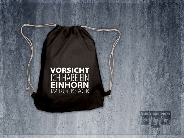 "Turnbeutel, Rucksack ""Vorsicht Einhorn"" // gym bag, tote bag ""unicorn"" by shirtandprint via DaWanda.com"