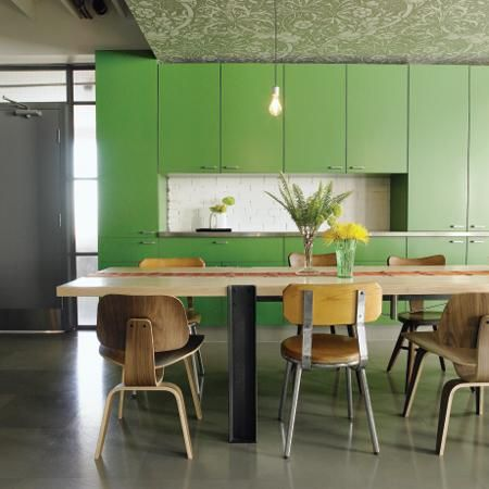 not only is this a gorgeous green kitchen...check the ceiling. ohya.