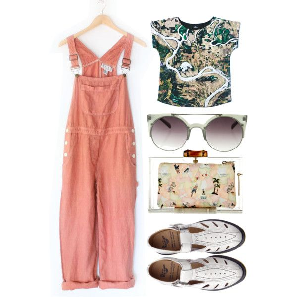 """runaway"" by raissa-cristabel on Polyvore: Contemporary Designer Retro Circle Super Half Frame Flat Bar Sunglasses 8525"