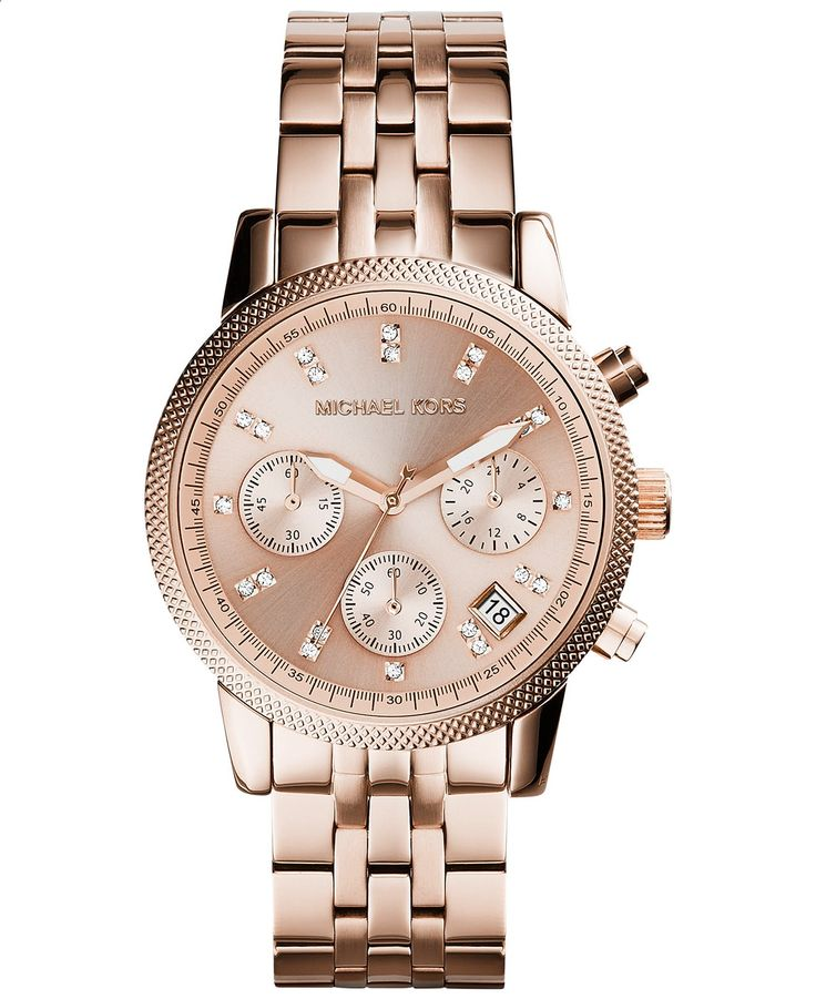Michael Kors Womens Chronograph Ritz Rose Gold-Tone Stainless Steel Bracelet Watch 37mm MK6077 - Michael Kors - Jewelry Watches - Macys