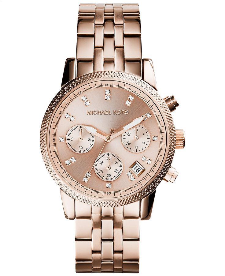 Michael Kors Womens Chronograph Ritz Rose Gold-Tone Stainless Steel Bracelet Watch 37mm MK6077 - Michael Kors - Jewelry Watches - Macys