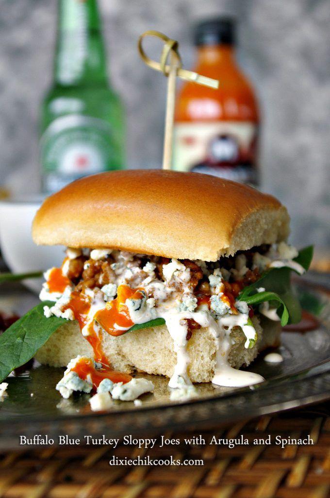 Buffalo Blue Turkey Sloppy Joes with Arugula and Spinach