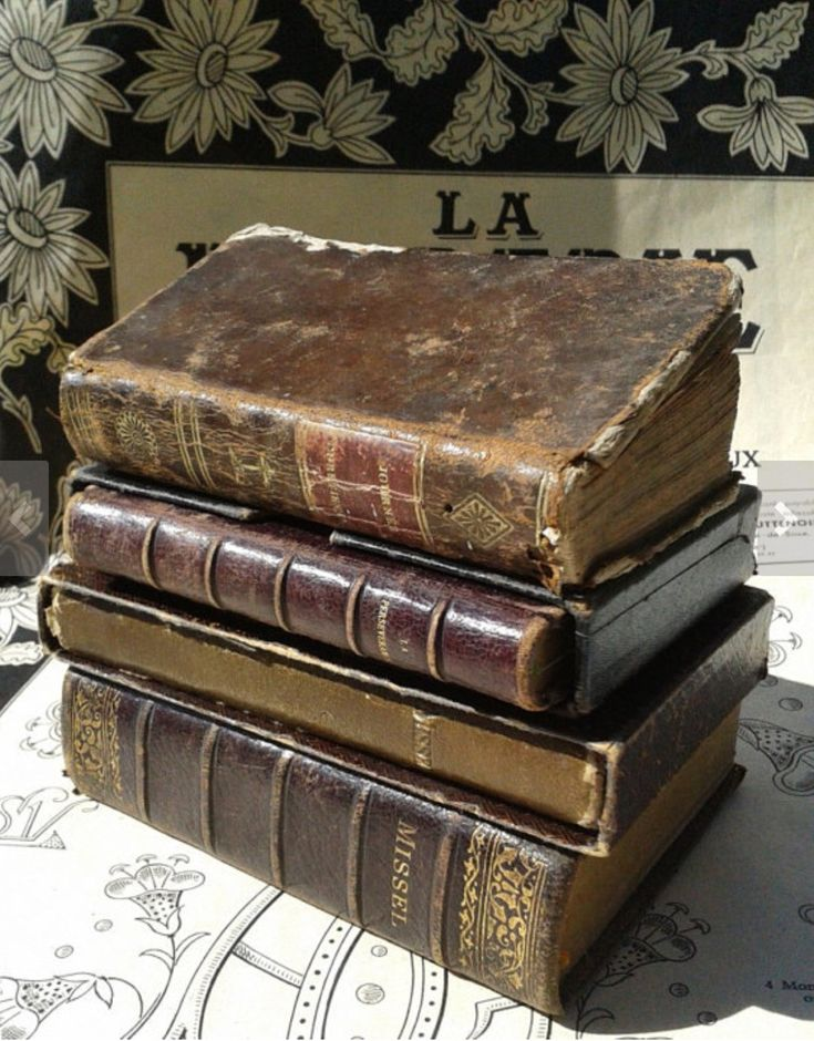 antique french leather bound books. french market finds, etsy.