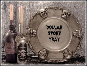 Turn a $ store plastic Halloween Tray into this sinister silver tray and use it to display DIY Potion Bottles.