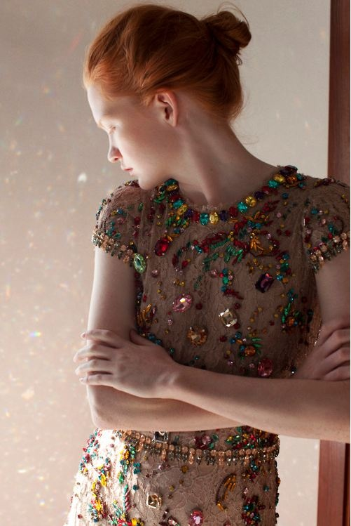 redhead and jewelled dress: Fashion, Editorial, Style, Dresses, Luisa Bianchin, Ola Rindal, Spring 2012
