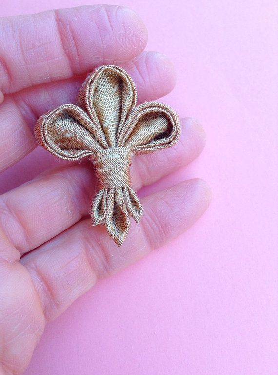 Mens Lapel Flower Pin Kanzashi Fleur de Lis by exquisitelapel