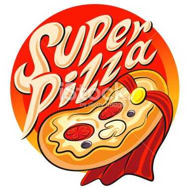 Edit Image #48258326: Superhero pizza label. Vector illustration isolated on a white background - iStock