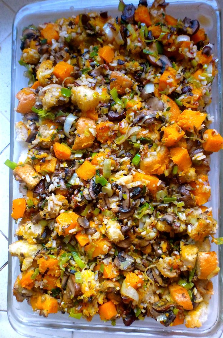 This stuffing is amazing, seasonal flavorful and comforting. I know, it's a lot to claim but it really is excellent. Better yet, it can be assembled the day before and then heated in the oven…