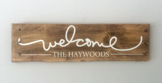 Welcome is hand painted in antique white on reclaimed pallet wood. Family name is painted underneath. Sign measures 19 long x 5.5 tall and comes ready to hang.  Note: Post is not included.
