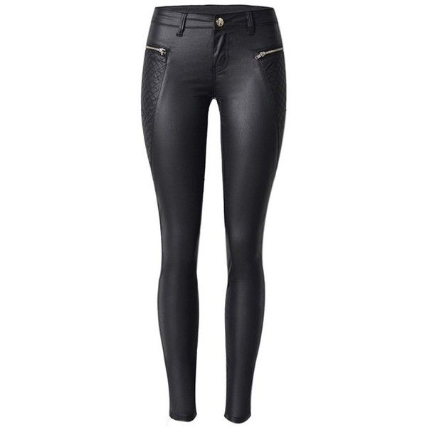 Diamond Pattern Faux Leather Ponte Pants Black (100 BRL) ❤ liked on Polyvore featuring pants, bottoms, jeans, black, ponte trousers, ponte pants, vegan leather pants, leather look pants and fake leather pants