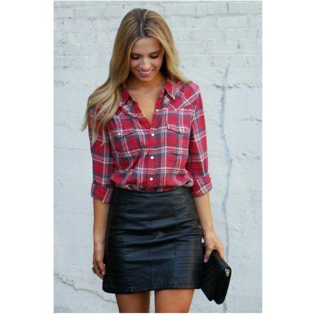 Chemise à carreaux et jupe en cuir - Magazine Avantages