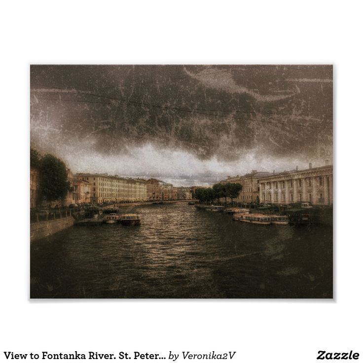 Poster. Saint Petersburg, Russia. View to Fontanka River from Anichkov Bridge. Sepia toned photography with scratches. Grunge style. A nice souvenir after your trip. #sale #giftideas #zazzle #discount #gifts #shopping #trendy #stylish #unique #artwork #photography #digital #processing  #cityscape #scenery #travel #tourism #europe #trip #saintpetersburg #stpetersburg #petersburg #russia #fontanka #sepia #monochrome #grunge #depression #poster #wallart