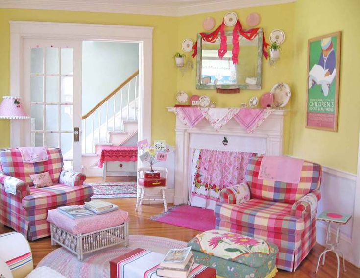 598 best cottage style shabby chic images on pinterest for Colorful whimsical living room