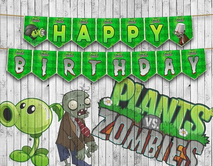 Plants VS Zombies Full Alphabet Garland Happy Birthday