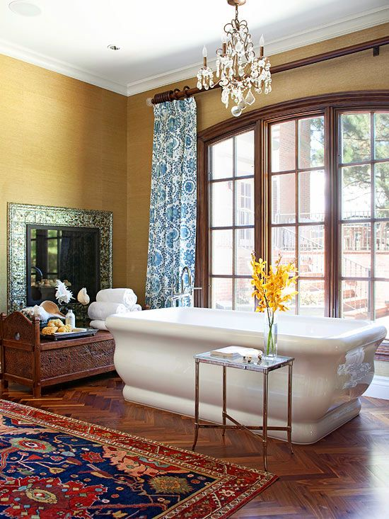 This Moroccan-inspired space is the perfect place to relax and unwind. More bathroom designs: http://www.bhg.com/bathroom/type/master/every-style-master-suites/?socsrc=bhgpin091513moraccanbath#page=5
