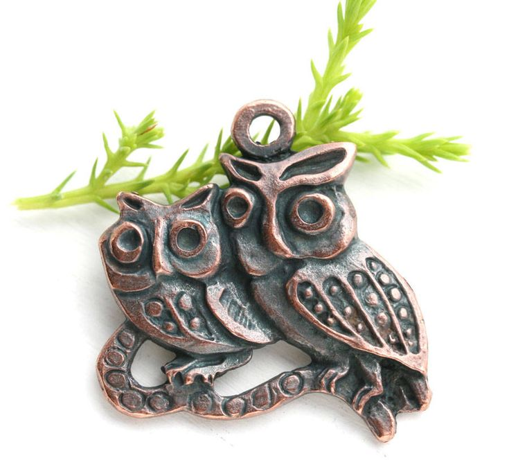 Copper Owl Pendant, Two owl birds on branch focal bead, Baby owl, woodland, Greek metal casting, Lead Free, 1Pc - F055 by MayaHoney on Etsy