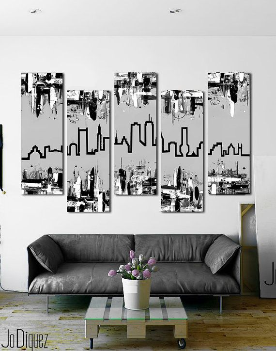 """Customizable! Original skyline painting. 41x64"""""""