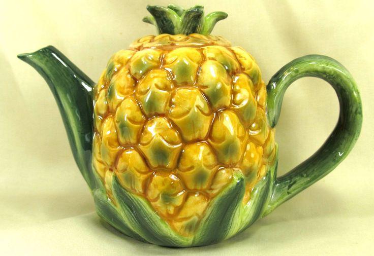 Pineapple decorative procelian tea pot tropical fruit
