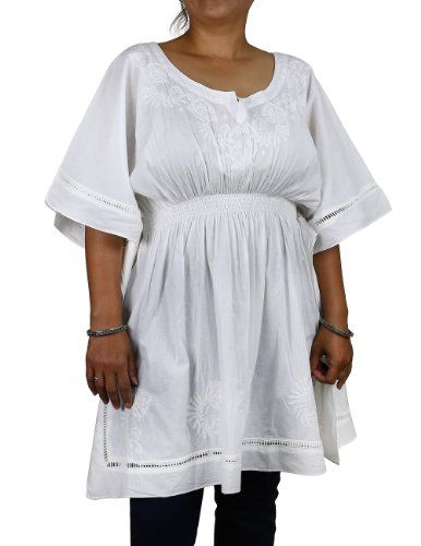 Indian Kurti Tunics White Cotton Embroidered Plus Size Tops Summer (XL/42) ShalinIndia http://www.amazon.in/dp/B00CC8Z8LO/ref=cm_sw_r_pi_dp_E-00tb14S9SAQKZT