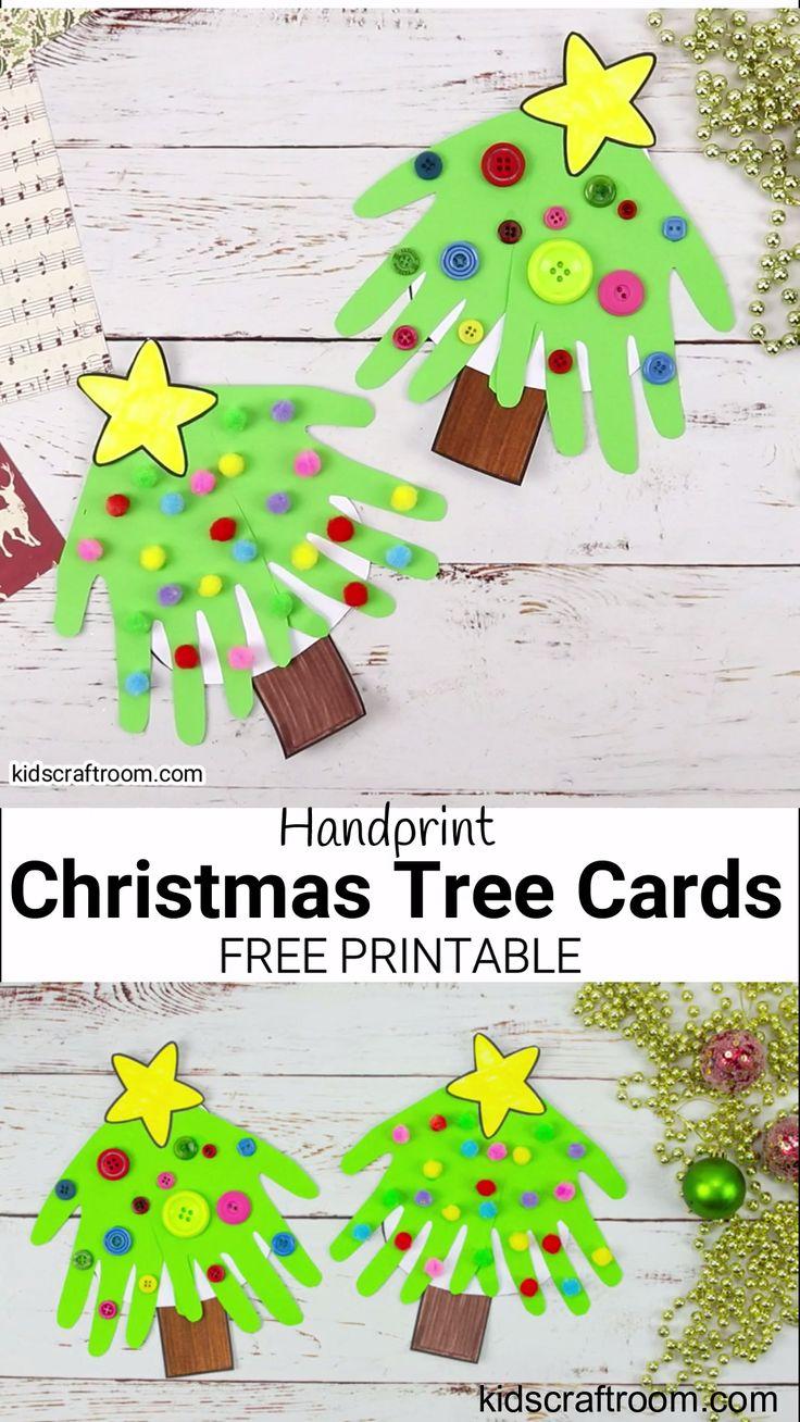 handprint christmas tree cards video  handprint