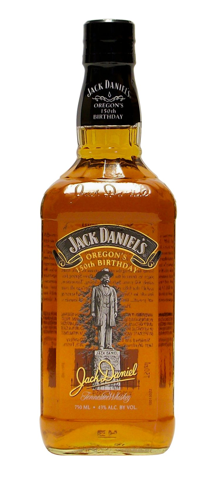 This beautiful 750ml bottle features an image of the Jack Daniel statue found near the cave spring on the Distillery grounds