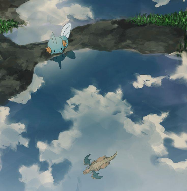 after_rain blue_sky clouds dragon dragonite linaria_(ookinahitomi) mudkip no_humans pokemon pokemon_(game) pokemon_rse reflection sky water