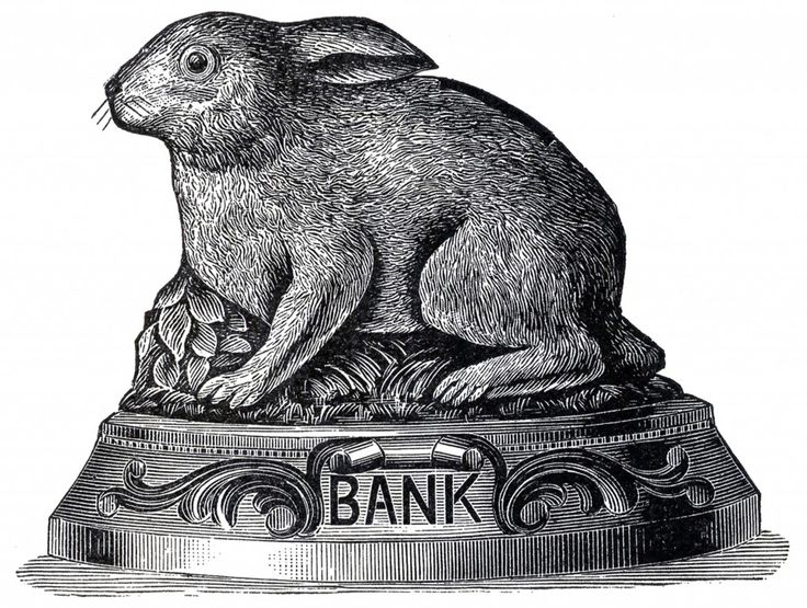 Vintage Bunny Bank Image - The Graphics Fairy