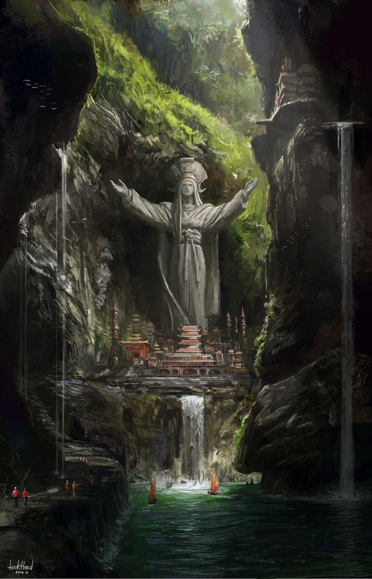 The Art Of Animation, Lockheed Jun Mao #landscape #inspiration #forest #rivr #waterfall #falls #statue #temple #palace #awesome #pagoda #oriental