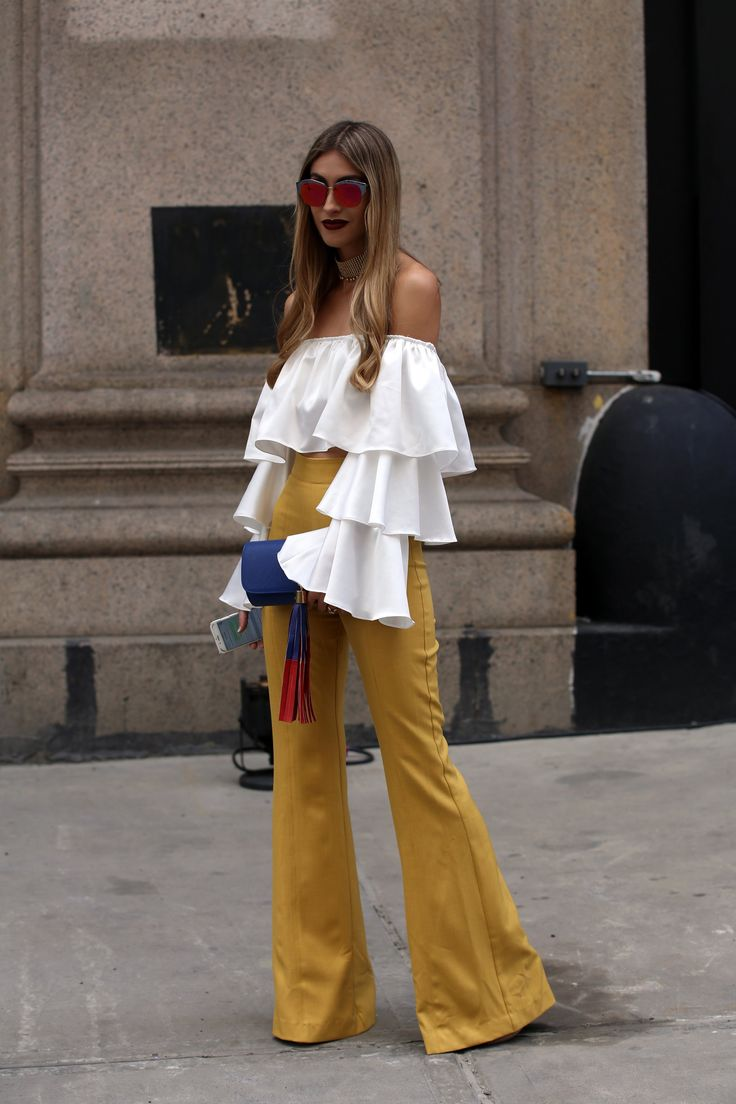 Love the outfit; hate the sunglasses . Photo credit: Fashion Week
