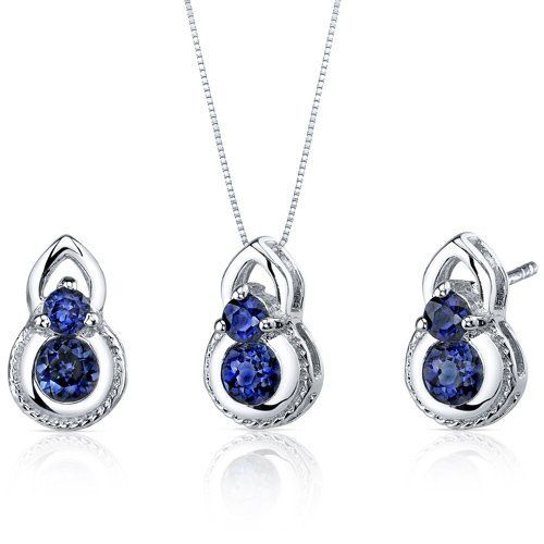 Dainty 2 Stone 1.50 carats Round Cut Sterling Silver with Rhodium Finish Sapphire Pendant Earrings Set Peora. $39.99. Save 75%!