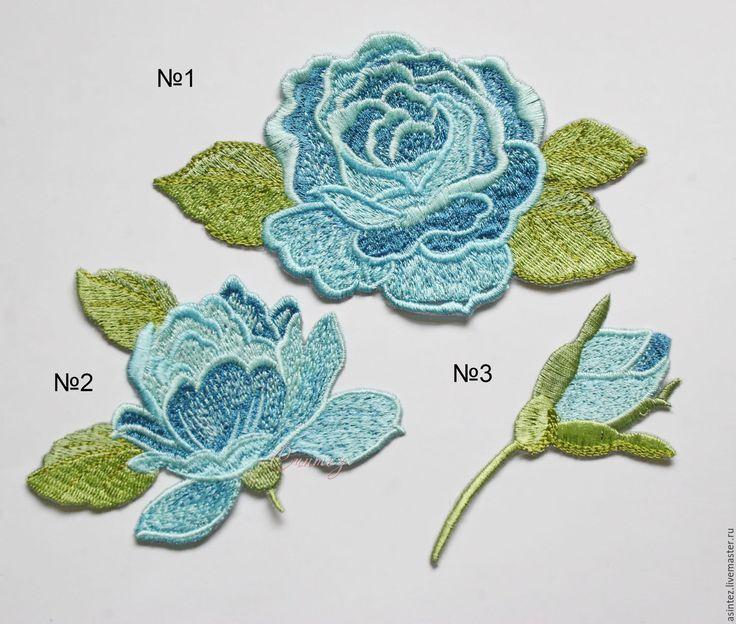 Купить вышивка аппликация нашивка Розы небесного цвета embroidery - цветок нежный, вышивка аппликация
