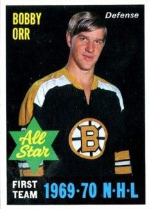 Bobby Orr of the Boston Bruins dominated the National Hockey League in 1969-70. O-Pee-Chee celebrated his achievements with six hockey cards in 1970-71.