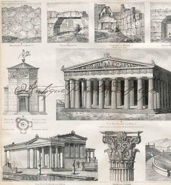Antique Print Architecture Ancient Greek Buildings Vintage German Engraving Original Print