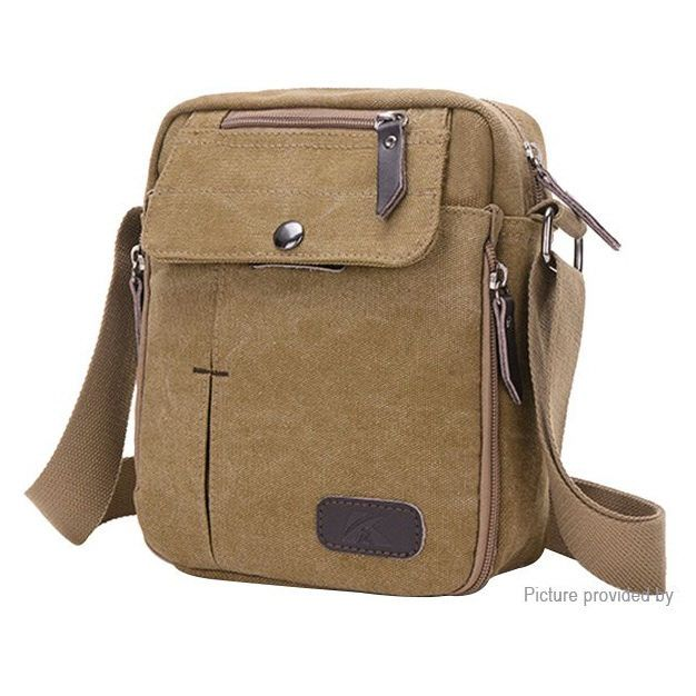 Men's Canvas Casual Crossbody Single Shoulder Bag zipper closure #UnbrandedGeneric