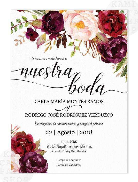Invitaciones de Boda, Spanish wedding invitation, Marsala, Burgundy, Tinto, Fall, Instant Download, Nuestra Boda, Edit at home