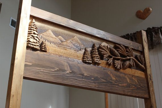 HANDMADE HEADBOARD Custom carved headboard by LazyRiverStudio