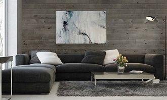 Revêtement de planche murale en pin blanc noueux teint. Gris cendré. Crée un effet en relief grâce aux deux épaisseurs de planches. Canac