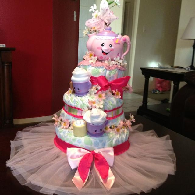 Tea Party Pink Diaper Cake