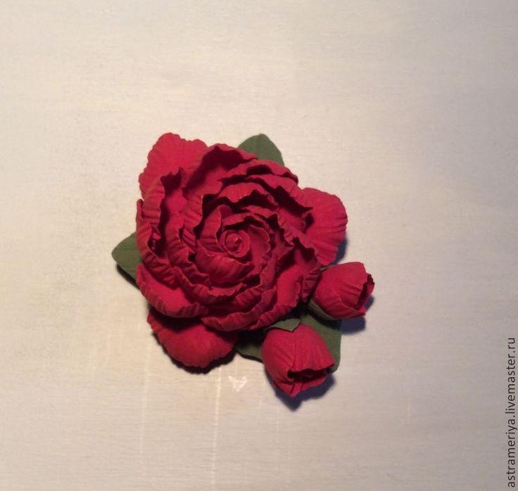Купить Свадебные шпильки красные цветы из полимерной глины - ярко-красный, красный, красный цвет