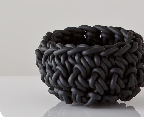 :: PRODUCTS :: NEO, CROCHETED RUBBER BOWL: basic object; bizarre material. $48 would love to convert this into a dog bed for my teds #products: Rubber Materials, Rubber Bowls Rath, Small Crochet, Crochettricot, Small Black, Black Crochet, Crochet Bowls, Crochet Rubber, Crochet Tricot