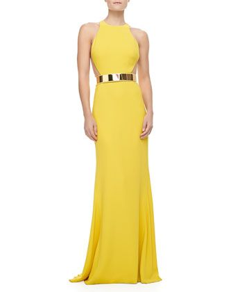 Stella McCartney Sleeveless Golden-Belt Gown - Bergdorf Goodman