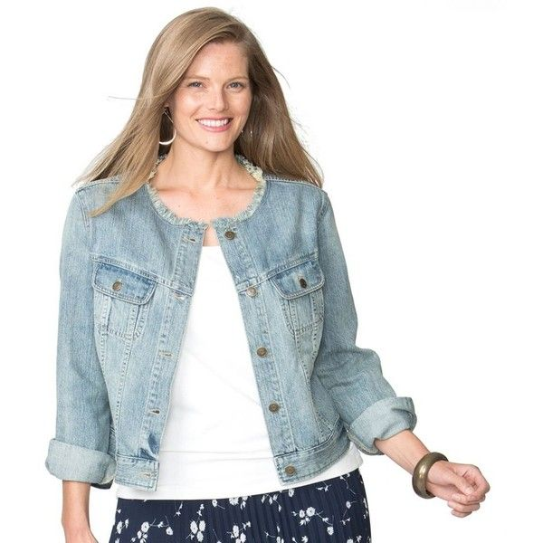 Plus Size Chaps Jean Jacket (88 CAD) ❤ liked on Polyvore featuring plus size women's fashion, plus size clothing, plus size outerwear, plus size jackets, blue, plus size, long sleeve denim jacket, plus size lightweight jacket, plus size denim jacket and long sleeve jean jacket