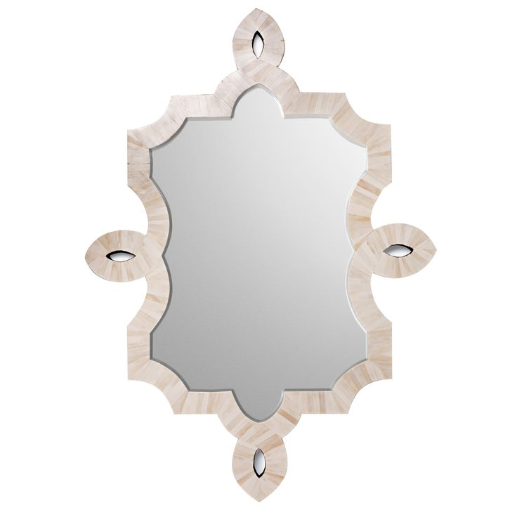 """Emporium Home's Bethany mirror punctuates walls with a compelling silhouette and eye-catching materials. Hand-applied natural bone inlay provides a stunning accent to the arabesque-shaped decor. 34.25""""W x 1.25""""D x 48.25""""H Hanging hardware included"""