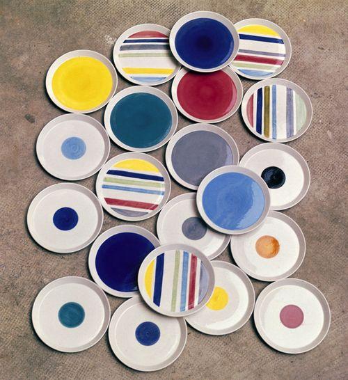 Gio Ponti, céramiques de Franco Pozzi, 1967. Assiette couleurs acidulées.