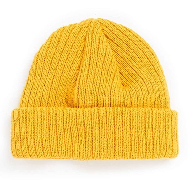 TOPMAN Mustard Super Mini Beanie ($12) ❤ liked on Polyvore featuring men's fashion, men's accessories, men's hats and yellow