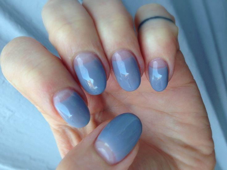 Grey half-moon manicure