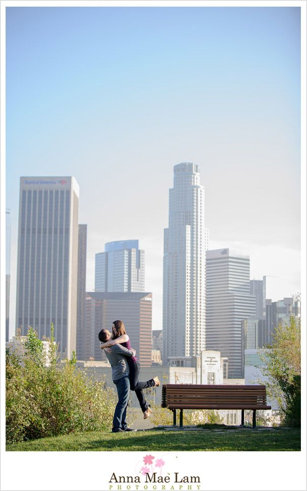 Los Angeles Downtown Skyline Engagement Photography