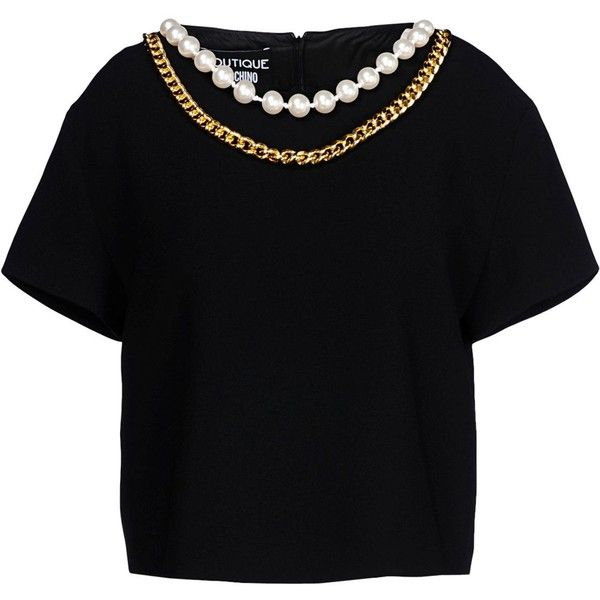 Boutique Moschino Blouse found on Polyvore featuring tops, blouses, blusas, t-shirts, black, black blouse, short sleeve blouse, black short sleeve top, short sleeve tops and black top