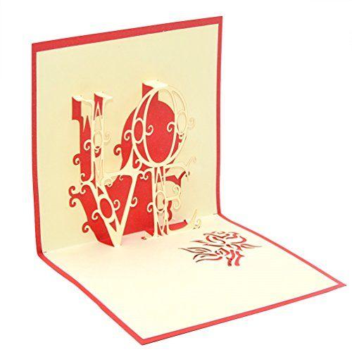 Medigy Handmade 3D Pop Up Greeting Cards for ValentinesLoversCouples Valentines Day Gifts Cards LOVE *** For more information, visit image link.