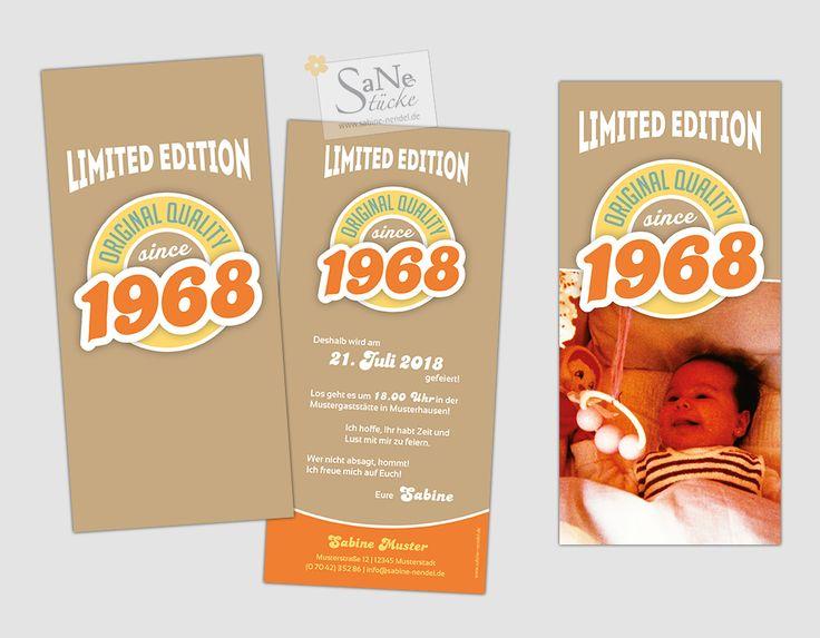 Einladungskarte Geburtstag Vintage Jahrgang 1968 in 3 Farbvarianten